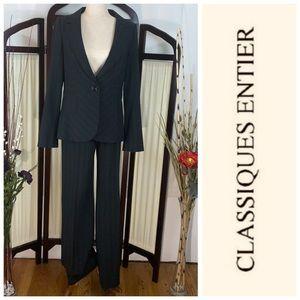 Classiques Entier black 2-piece pin strip suit.
